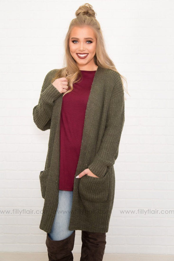 Warm and Cozy Olive Knit Sweater W/ Pockets