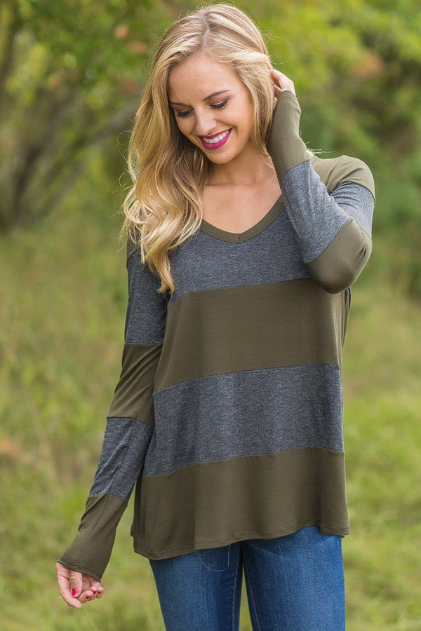 Olive Charcoal Striped Long Sleeve V Neck Top