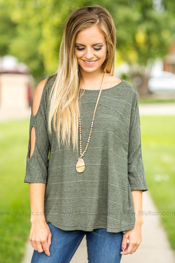 Double Down Olive Cold Shoulder Top