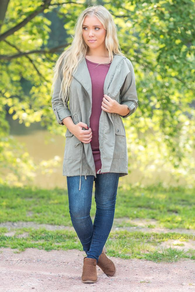 Caught Up In You Zip Up Hooded Jacket in Olive - Filly Flair