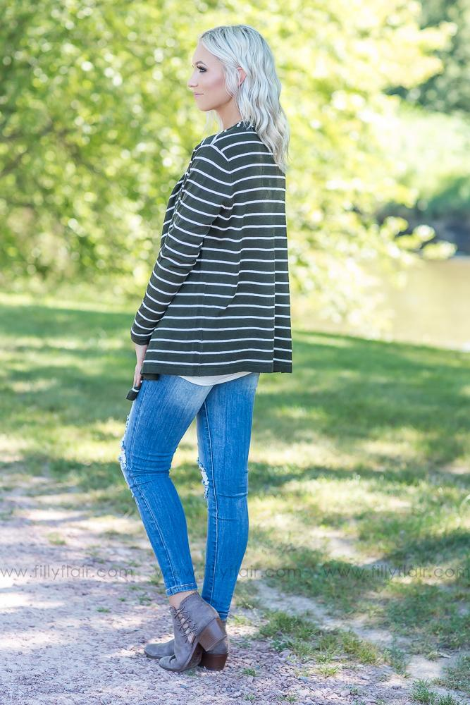 More Like Her Striped Waterfall Open Sweater Cardigan in Olive - Filly Flair