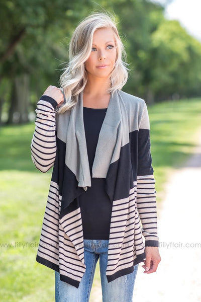 Good Time Comin' On Striped Color Block Waterfall Cardigan in Olive - Filly Flair