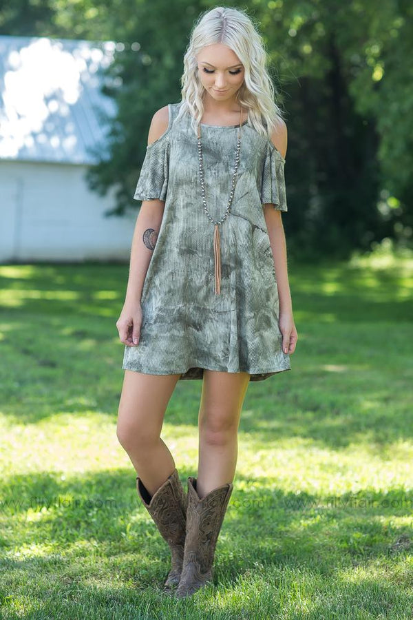 Can't Say No Cold Ribbed Shoulder Tie Dye Dress in Olive - Filly Flair