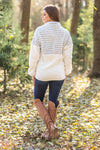 The Best Time Half Zip Faux Sherpa Sweatshirt in Olive Stripes - Filly Flair