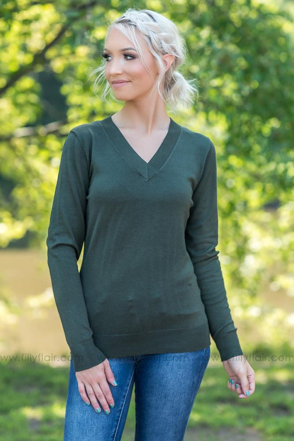 Get Me Through Long Sleeve Sweater in Olive - Filly Flair