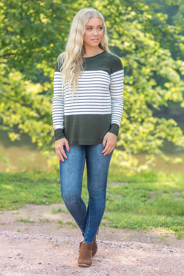 Next to Me White Striped Long Sleeve Sweater in Olive - Filly Flair