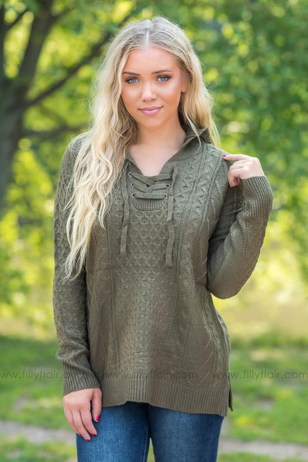 The Time is Right Lace Up Hooded Sweater in Olive - Filly Flair