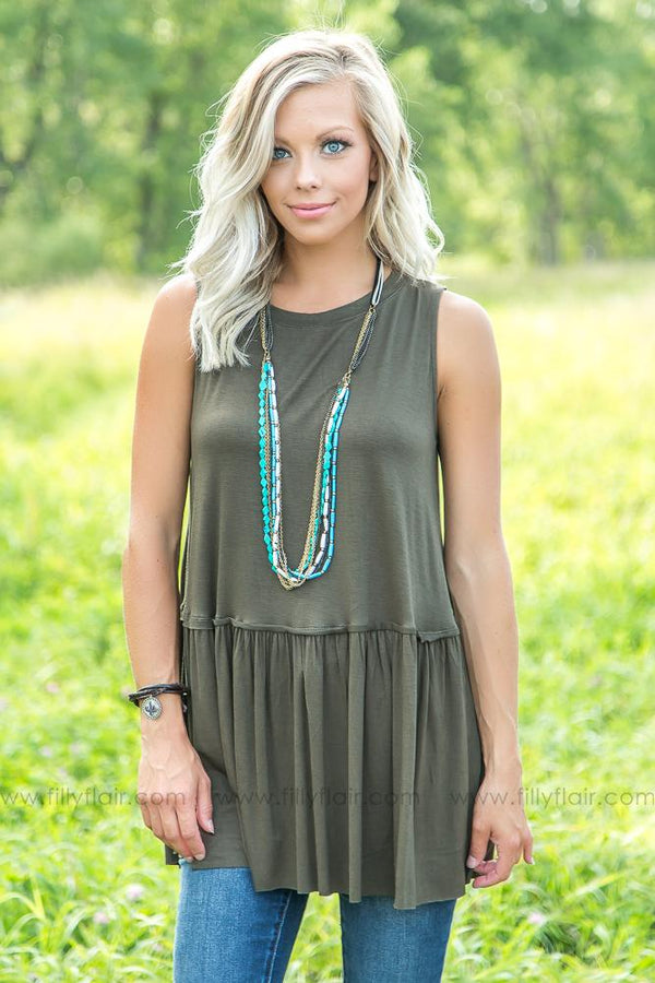 Easy Going Love Sleeveless Top in Dark Olive - Filly Flair