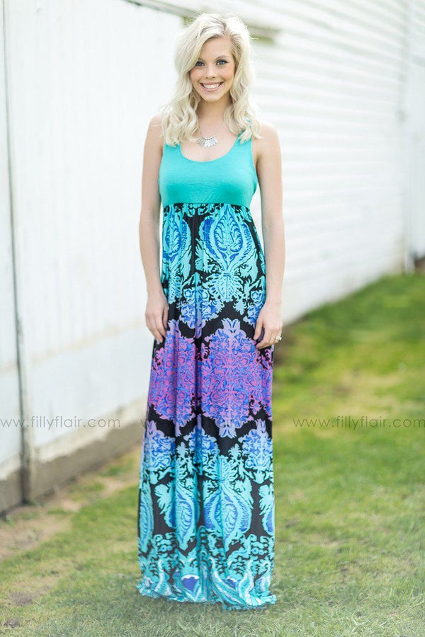 Deep Sea Paisley Printed Maxi Dress