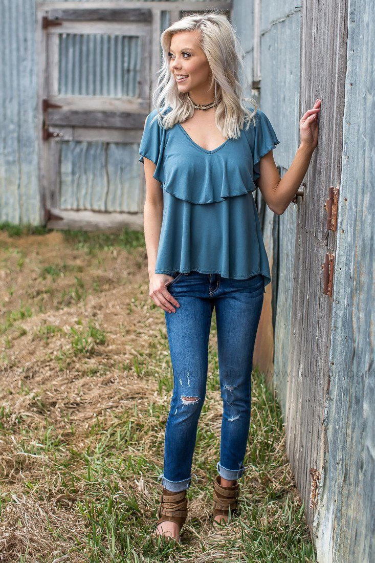ruffle blouse in blue gray