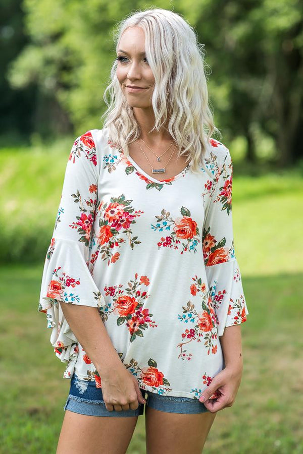 Standing Out Ivory Floral 3/4 Sleeve Top - Filly Flair
