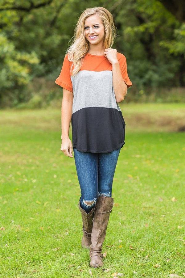 Harvest Block Short Sleeve Top in Pumpkin