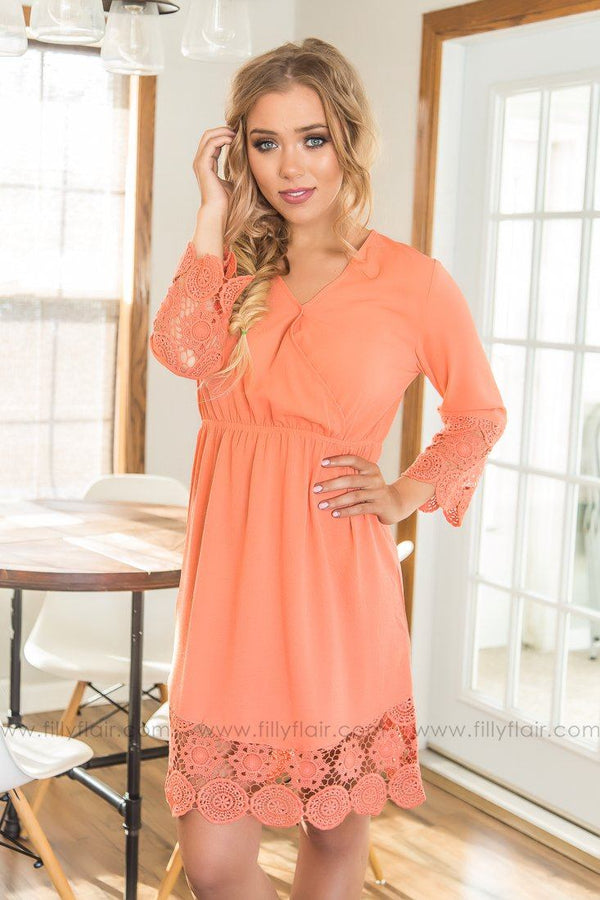 Rainy Day Scallop Lace Dress In Salmon
