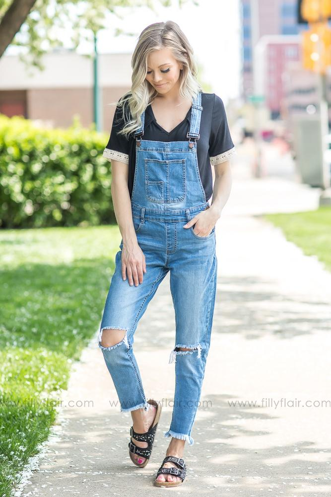 Medium Wash Distressed Overall Jeans - Filly Flair