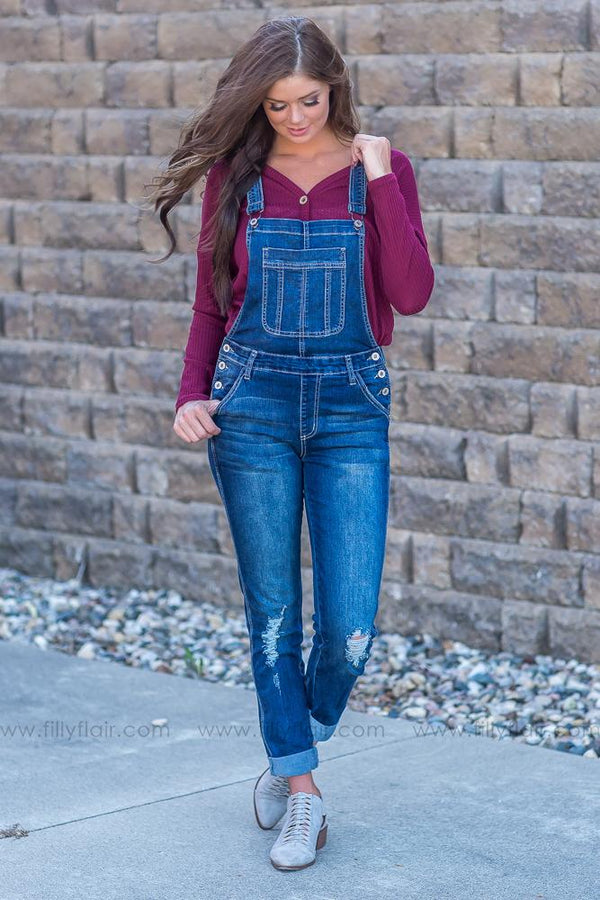 Kourtney Kan Can Dark Wash Jean Overalls - Filly Flair