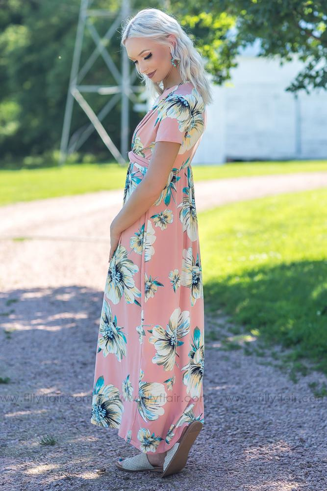 Summer Dreams Floral Maxi Dress in Blush - Filly Flair