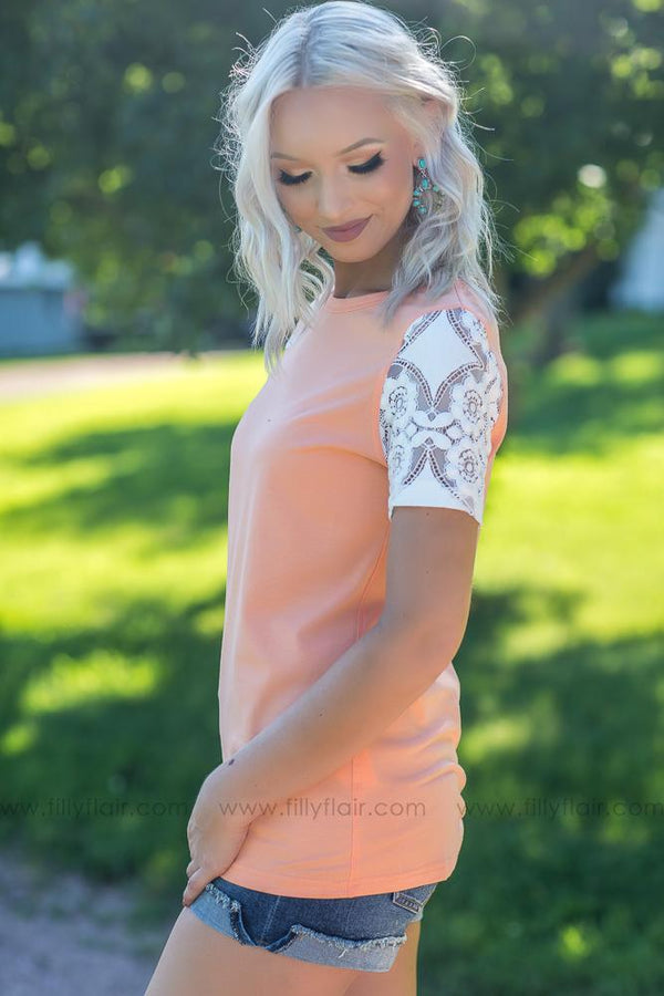 Everyday Favorite Ampersand Avenue Top with White Lace Sleeves - Filly Flair