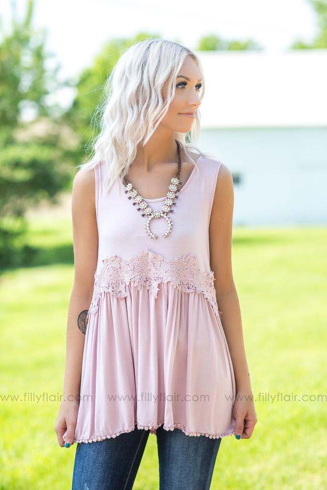 Better With Time Sleeveless Crochet Lace Detail Top In Pink - Filly Flair