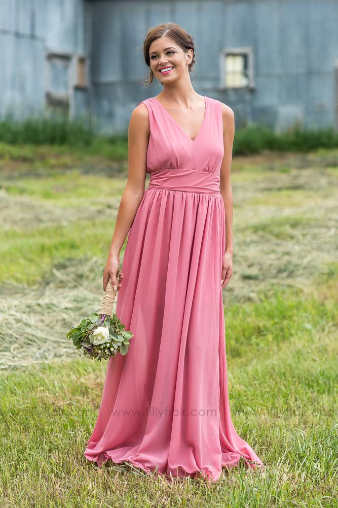 6b7b583517 Isabella Bridesmaid Dress In Rose - Filly Flair