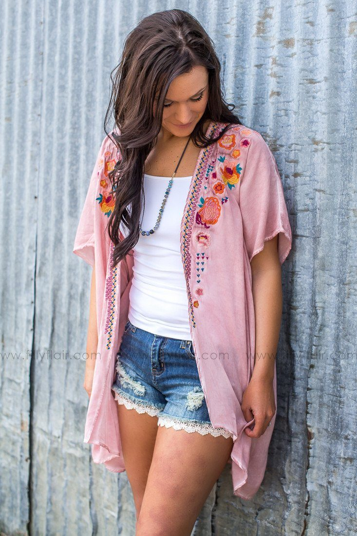 Breezy Day Floral Embroidered Kimono