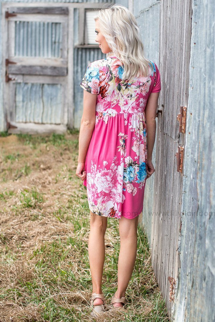 dress with flowers in pink