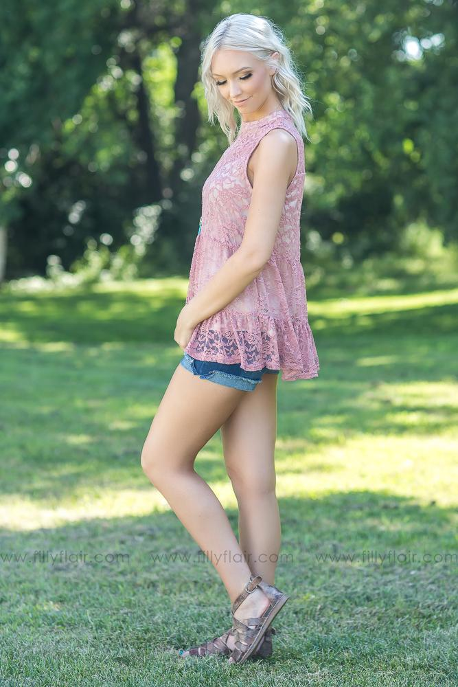 Everyday Beauty Mauve Lace Tank Top - Filly Flair