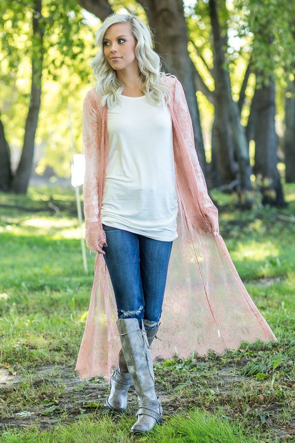 Day Dreamer Salmon Lace Sheer Duster