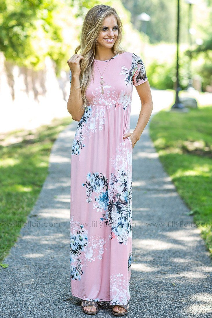 The Journey Floral Maxi Dress in Dusty Pink
