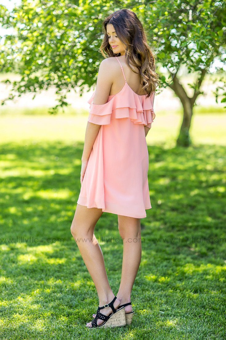I Found You Ruffle Dress in Coral