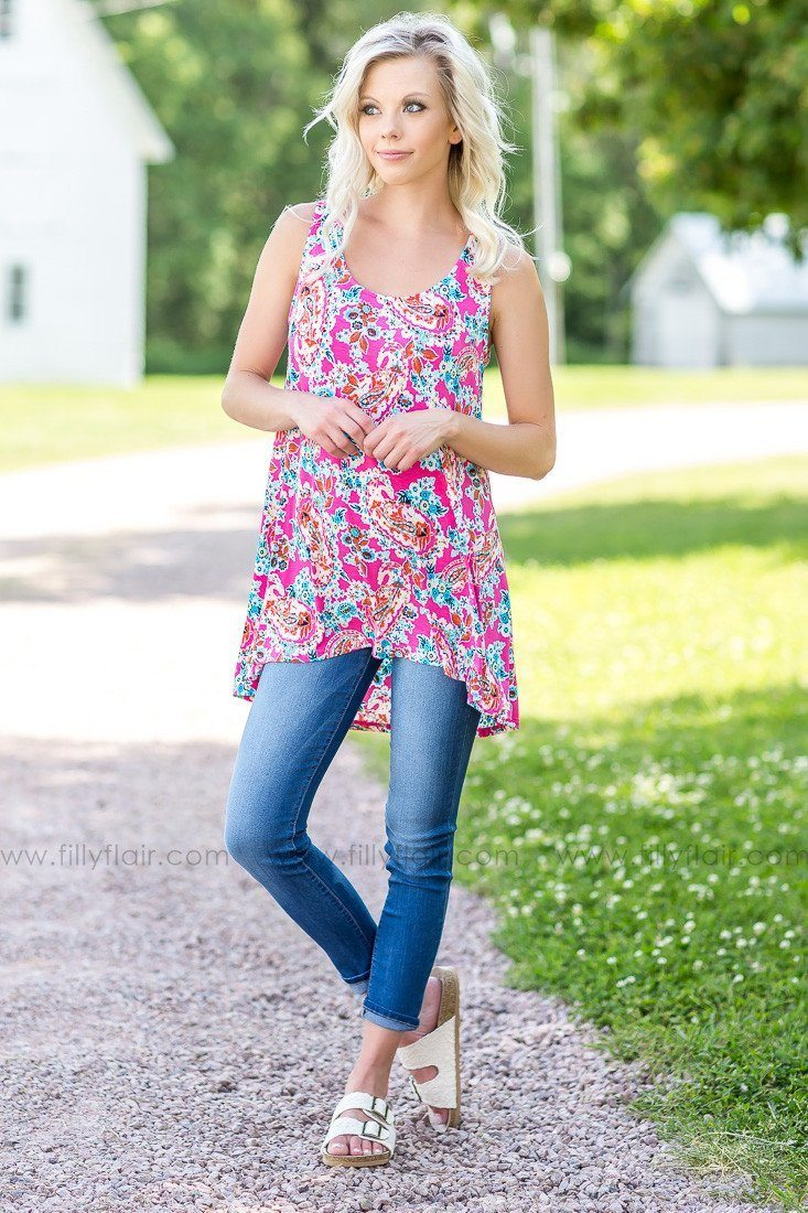 Promises Pink Paisley and Floral Printed Tank Top
