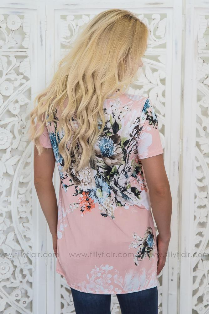 Road Less Traveled Floral Knotted Top In Blush