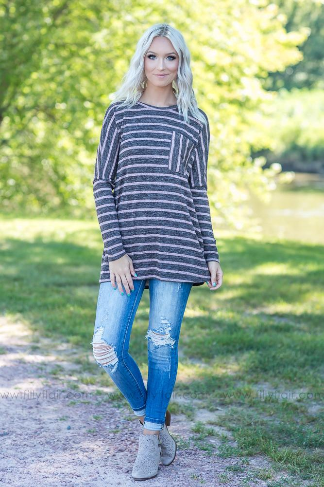 All I've Got Mauve Stripe Chest Pocket Top in Charcoal - Filly Flair