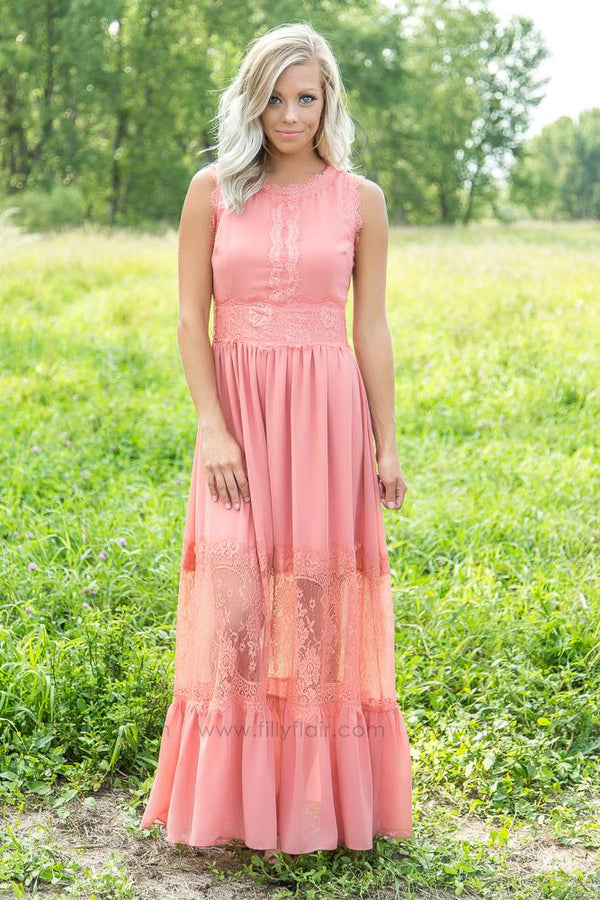 Long Love Dusty Mauve Lace Dress