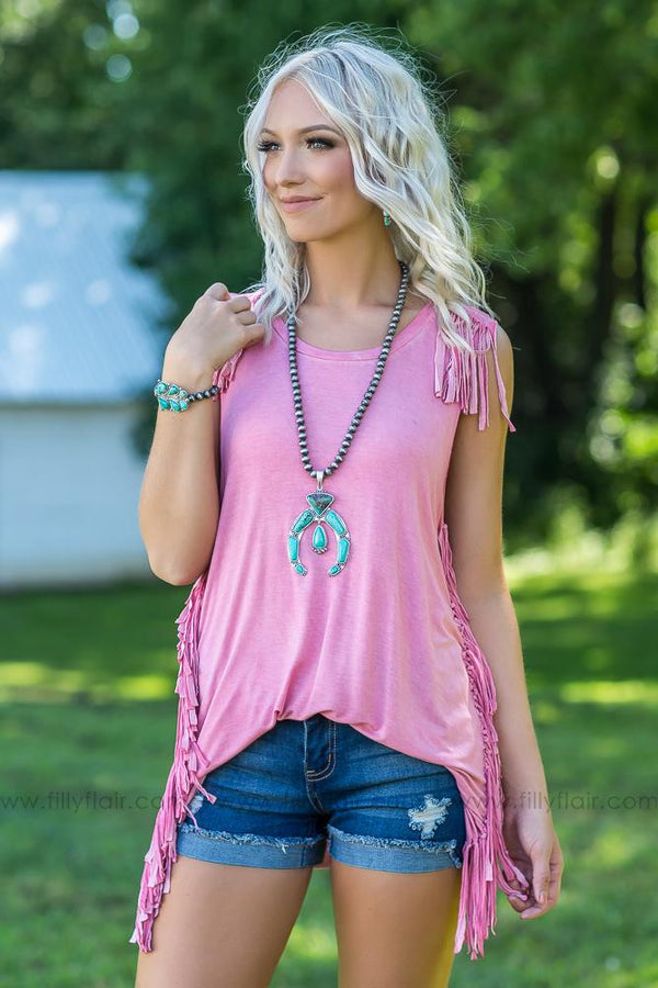 Come See About Me Fringe Top in Washed Rose - Filly Flair
