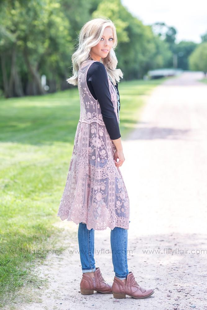 Dusty Days Lace Sleeveless Kimono in Pink - Filly Flair