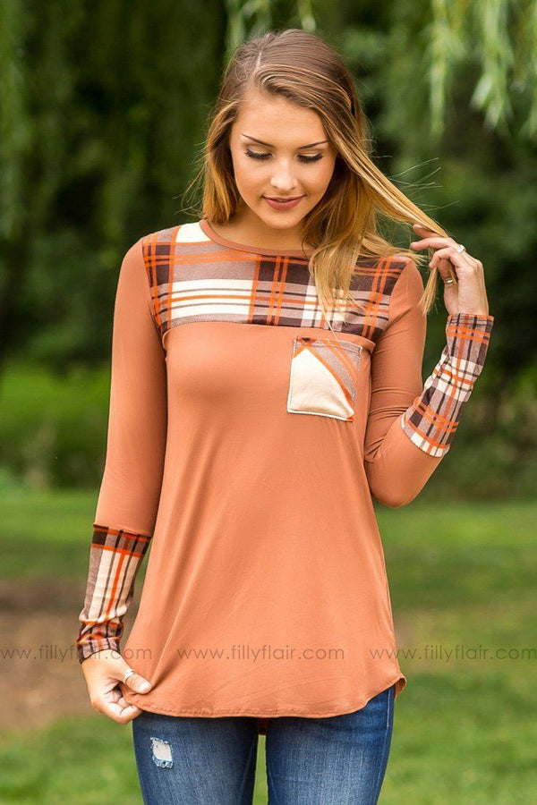 Cozy Cabin Brown Long Sleeve Plaid Print Top