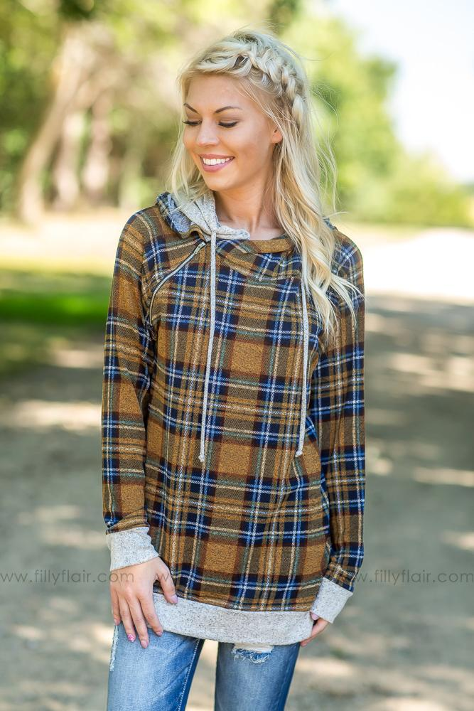 Plaid Wonder Double Hoodie in Mustard - Filly Flair