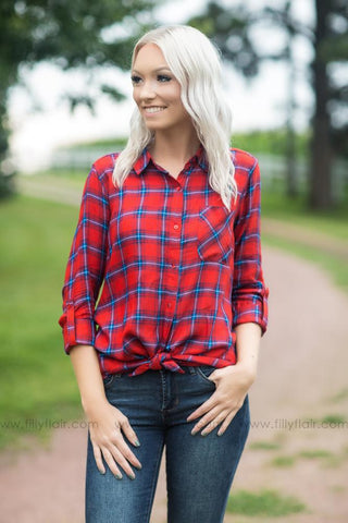 Best Memories Plaid Button Up Top in Red