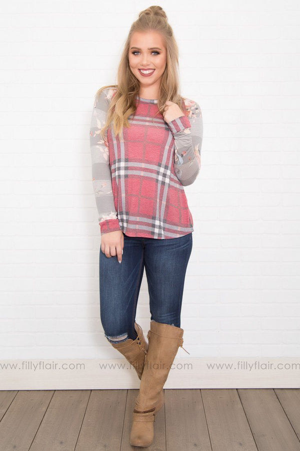 My Swift Floral Long Sleeve Top in Burgundy Plaid