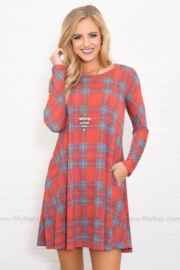 Sassy And Classy Rust Burgundy Grey Plaid Printed Dress