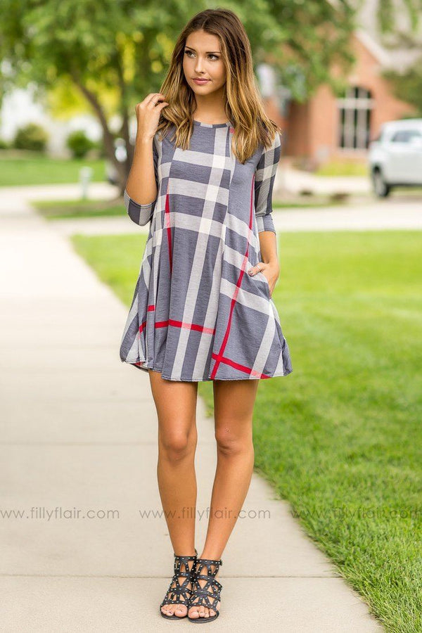 Preppy Patterns Grey Plaid Mini Dress