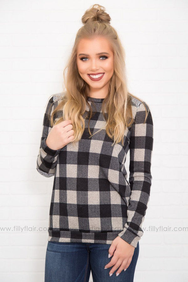 Checkered Love Long Sleeve Sequin Shoulder Top