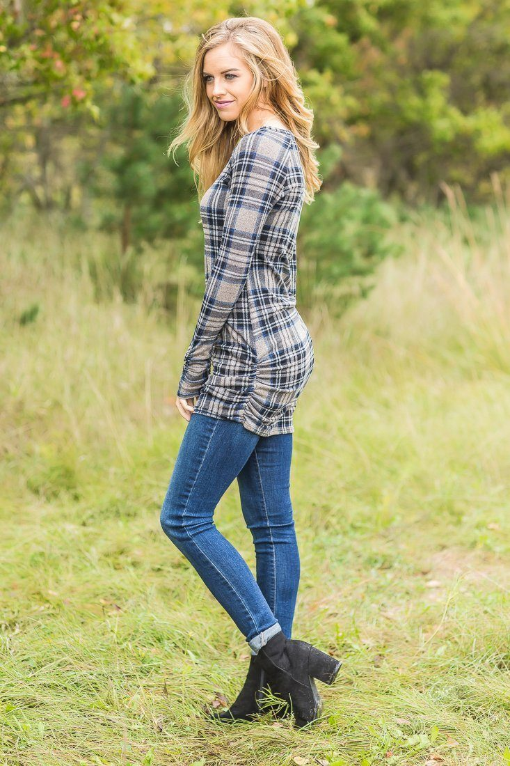 Royal Plaid Long Sleeve Navy Tunic With Side Ruch