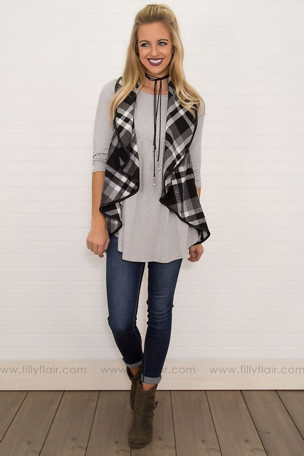 Blessed Morning Checkered Vest in Black White