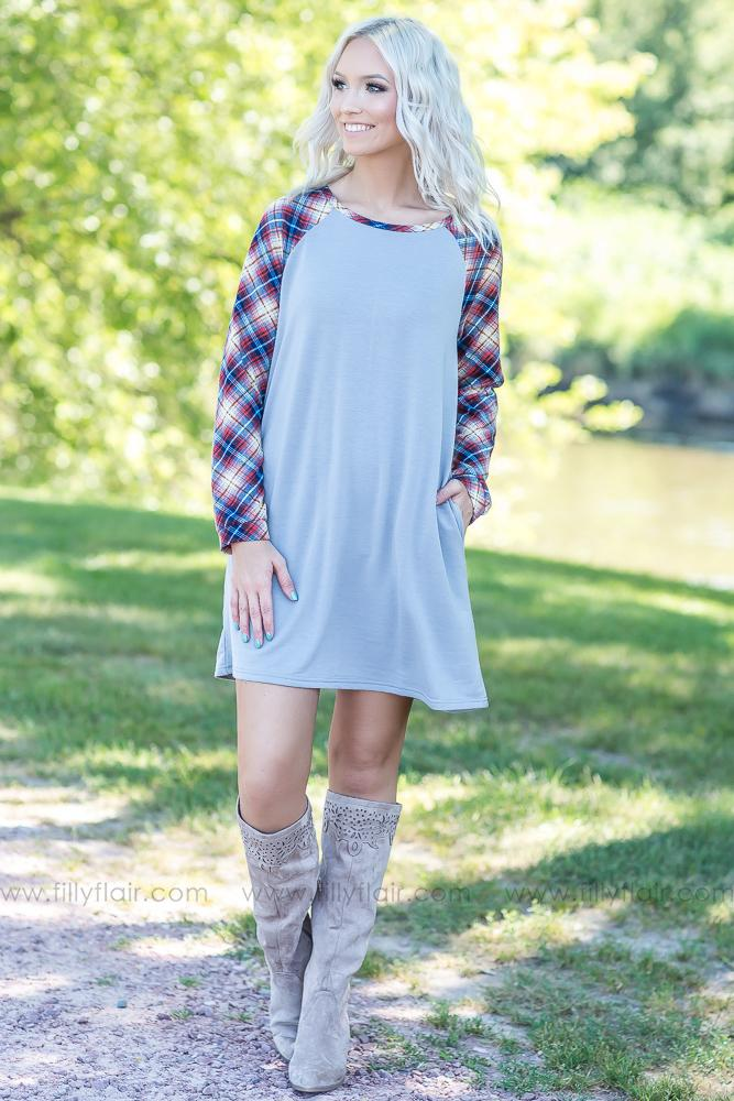 I Lived It Long Sleeve Plaid Dress in Dusty Blue - Filly Flair