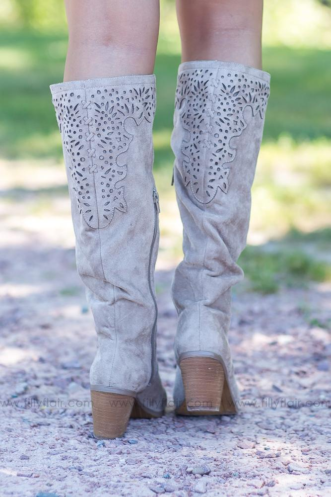 Not Rated Maddie Suede Tall Boots in Taupe - Filly Flair