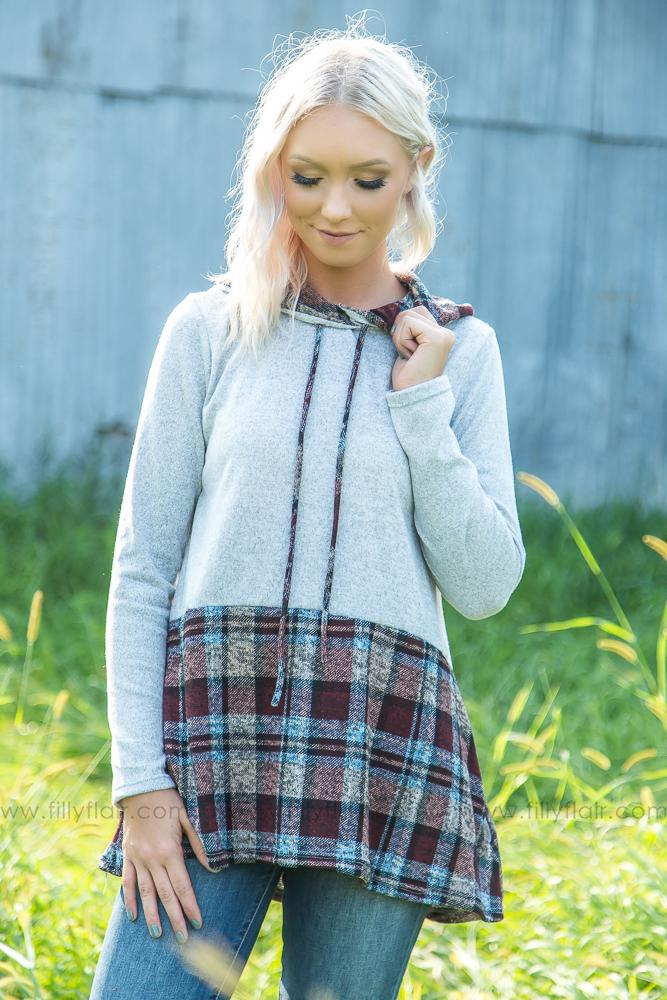 Go Along With It Plaid Hoodie With Pockets - Filly Flair