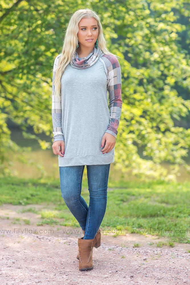 It's Your Time Plaid Sleeves and Cowl Neck Top in Heather Grey - Filly Flair