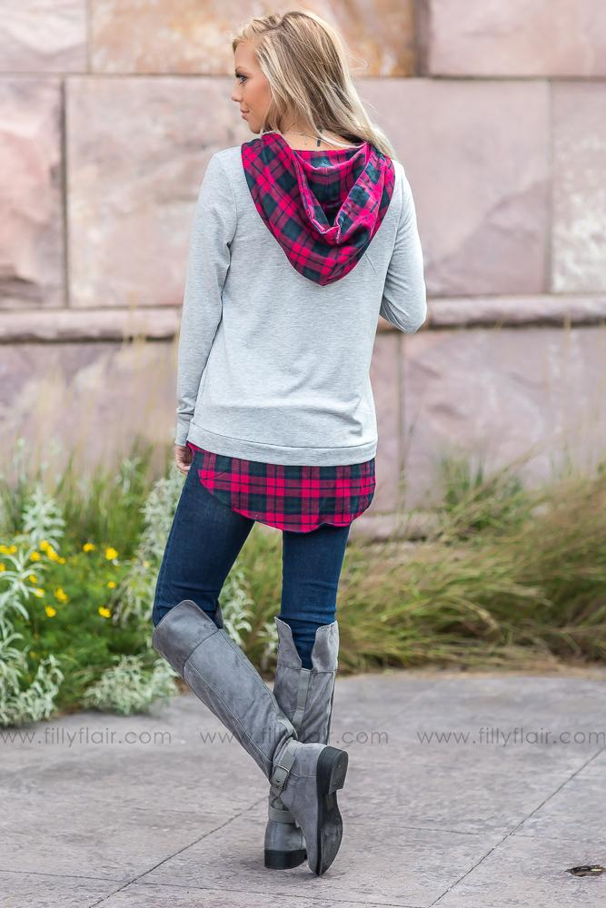 I Already Know Grey Hooded Top with Navy and Red Plaid Accents - Filly Flair