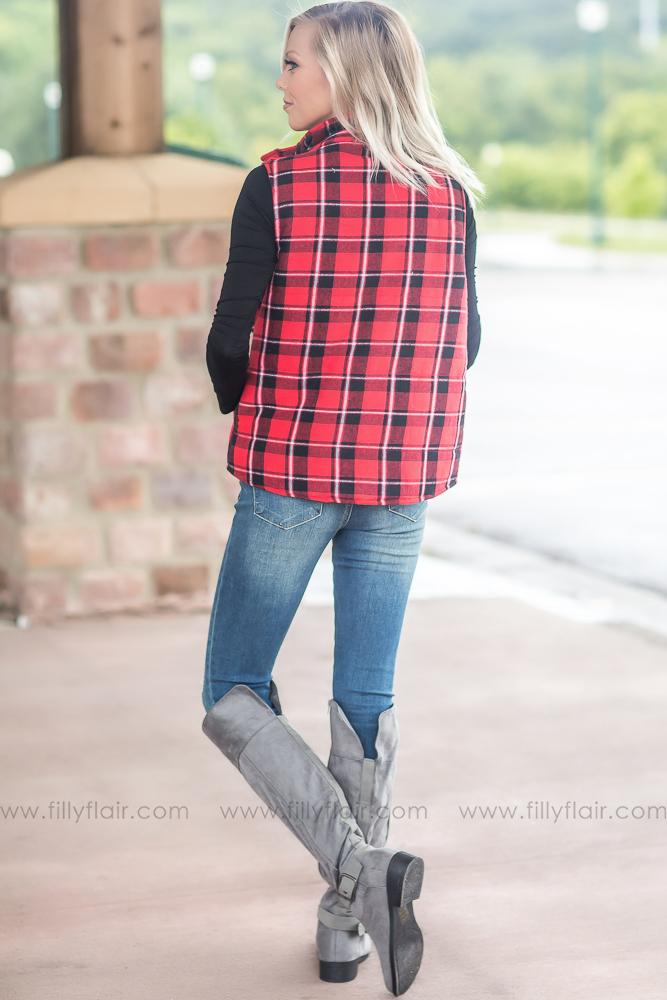 Some Kind of Way Red and Black Plaid Vest - Filly Flair